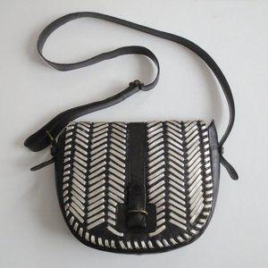 Ecoté Black Silver Leather Crossbody Shoulder Bag